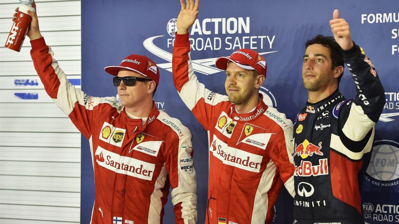 Raikkonen, Vettel, Ricciardo