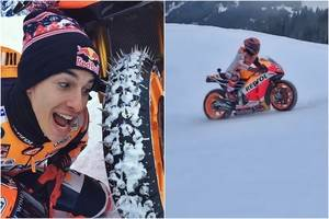 Marc Marquez y su Honda RC213V en la Nieve