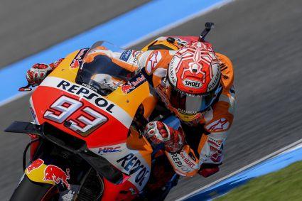 Marquez ganó en la última curva de la vuelta final