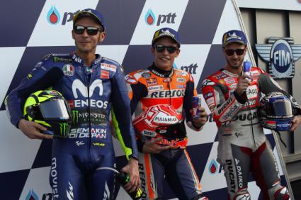 Márquez, Rossi y Dovizioso, ¡vaya trio!