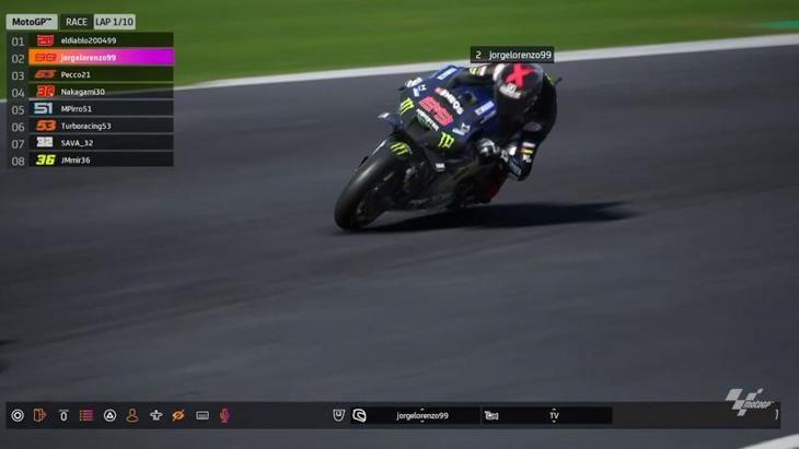 Jorge Lorenzo gana la carrera del GP Virtual de Gran Bretaña