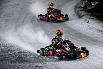 Verstappen y Gasly se divierten en el hielo