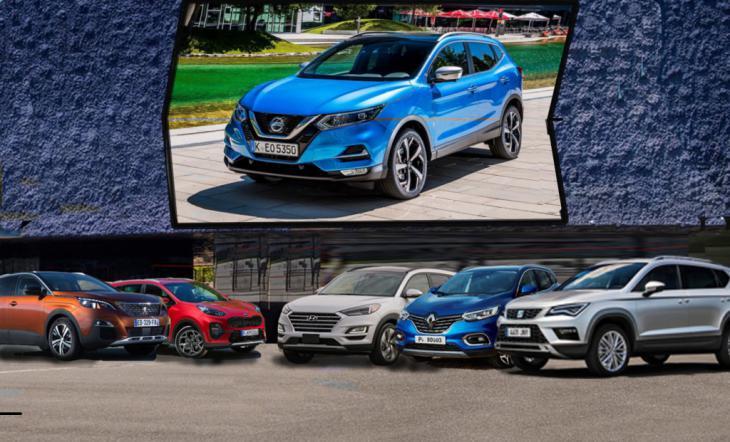 Enfrentamiento Nissan Qashqai, Hyundai Tucson, Seat Ateca, Kia Sportage y sus rivales