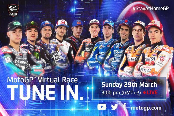 Carrera virtual de MotoGP entre los pilotos de la parrilla