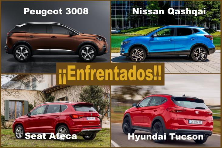 Los SUV más vendidos: Nissan Qashqai, Peugeot 3008, Hyundai Tucson y Seat Ateca, enfrentados