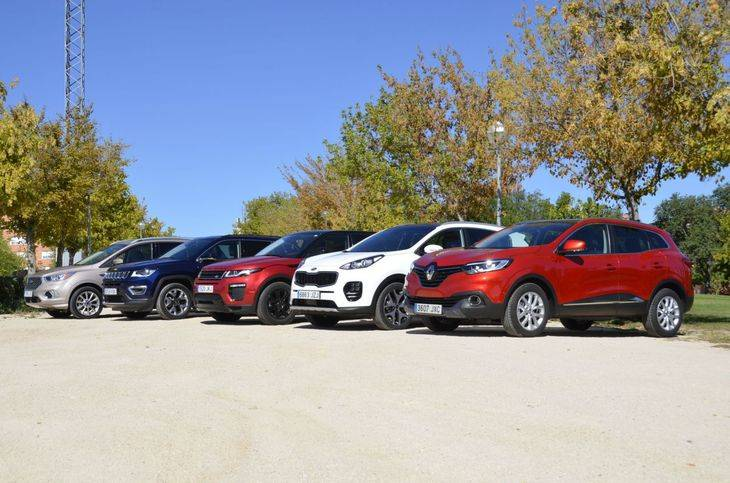 Comparativa SUV del momento: Range Rover Evoque, Ford Kuga, Renault Kadjar, Jeep Compass y Kia Sportage